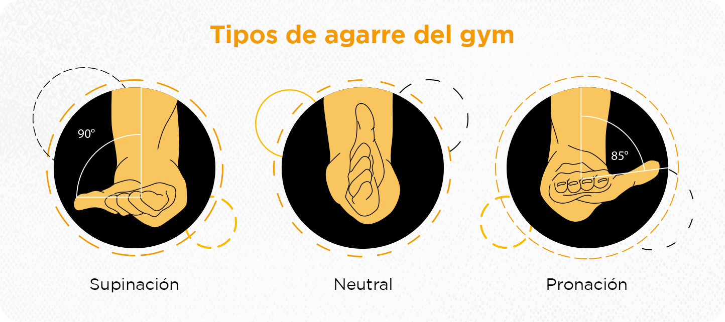 tipos de agarre en el peso libre y aparatos del gym